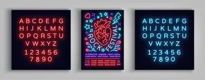 Πρόσκληση για να λικνιστεί το φεστιβάλ Τυπογραφία, αφίσα στο ύφος νέου, πρότυπο σχεδίου ιπτάμενων για το φεστιβάλ βράχου, συναυλί ελεύθερη απεικόνιση δικαιώματος