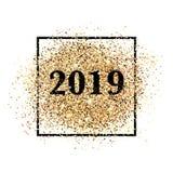 2019 πρόσκληση καλής χρονιάς για την τυπωμένη ύλη και τον Ιστό απεικόνιση αποθεμάτων