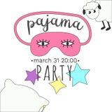 Πρόσκληση κόμματος πυτζαμών Girly στα φωτεινά χρώματα στοκ φωτογραφία
