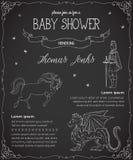 Πρόσκληση ντους μωρών με τον πρίγκηπα, το δράκο, το άλογο και τις πεταλούδες διανυσματική απεικόνιση