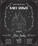Πρόσκληση ντους μωρών με το κάστρο, τη νεράιδα, τα τριαντάφυλλα και τις πεταλούδες απεικόνιση αποθεμάτων