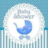 Πρόσκληση ντους μωρών με το μπλε υπόβαθρο, ντους μωρών για το αγόρι, eps10 απεικόνιση αποθεμάτων