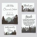Πρόσκληση που τίθεται γαμήλια με την κάρτα πρόσκλησης βουνών διανυσματική απεικόνιση