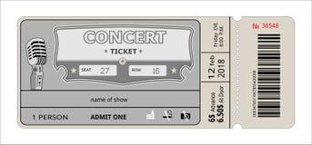 Πρόσκληση συναυλίας εισιτηρίων παρουσιάστε, δελτίο, εισιτήριο είσοδος εισόδων αποδοχής περασμάτων διανυσματική απεικόνιση