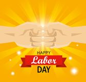 Πρόσκρουση πυγμών χεριών στον εορτασμό Εργατικής Ημέρας διανυσματική απεικόνιση