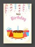 Πρόσκληση ή ευχετήρια κάρτα γενεθλίων Στοκ Εικόνες