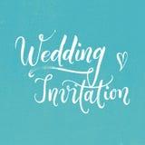 Πρόσκληση γαμήλιας σύγχρονη χέρι-γραμμένη καλλιγραφίας Στοκ Εικόνες