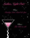 Πρόσκληση γυναικείας νύχτας έξω Στοκ εικόνες με δικαίωμα ελεύθερης χρήσης