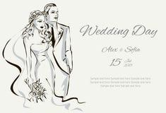 Πρόσκληση ημέρας γάμου με το γλυκό ζεύγος Στοκ Φωτογραφία
