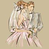 Πρόσκληση ημέρας γάμου με το γλυκό ζεύγος Στοκ εικόνες με δικαίωμα ελεύθερης χρήσης