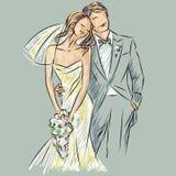 Πρόσκληση ημέρας γάμου με το γλυκό ζεύγος Ελεύθερη απεικόνιση δικαιώματος