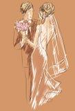 Πρόσκληση ημέρας γάμου με το γλυκό ζεύγος Απεικόνιση αποθεμάτων