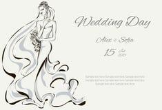 Πρόσκληση ημέρας γάμου με το όμορφο fiancee Απεικόνιση αποθεμάτων