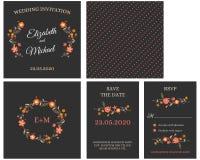 Πρόσκληση καρτών γαμήλιας πρόσκλησης με τα λουλούδια Διανυσματική απεικόνιση