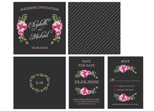 Πρόσκληση καρτών γαμήλιας πρόσκλησης με τα λουλούδια watercolor Απεικόνιση αποθεμάτων