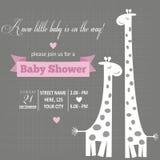 Πρόσκληση κοριτσάκι για το ντους μωρών διανυσματική απεικόνιση