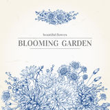 Πρόσκληση με μπλε λουλούδια Στοκ Εικόνα
