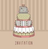 Πρόσκληση με το γαμήλιο κέικ Στοκ φωτογραφίες με δικαίωμα ελεύθερης χρήσης