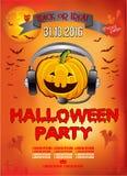 Πρόσκληση σε ένα κόμμα αποκριών, κολοκύθα DJ, απεικόνιση, αφίσα στοκ φωτογραφία με δικαίωμα ελεύθερης χρήσης