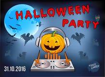 Πρόσκληση σε ένα κόμμα αποκριών, κολοκύθα DJ στοκ φωτογραφία με δικαίωμα ελεύθερης χρήσης