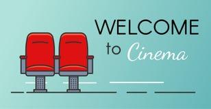 Πρόσκληση στην έννοια εμβλημάτων κινηματογράφων Κόκκινος κινηματογράφος πολυθρόνων Επίπεδη απεικόνιση περιλήψεων για τον Ιστό και Στοκ Φωτογραφίες