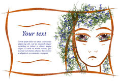 Πρόσκληση applique του προσώπου κοριτσιών ` s των λουλουδιών και του LE Στοκ φωτογραφίες με δικαίωμα ελεύθερης χρήσης
