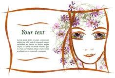 Πρόσκληση applique του προσώπου κοριτσιών ` s φιαγμένου από λουλούδια και LE Στοκ Φωτογραφία