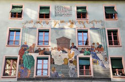 Πρόσοψη λεπτομέρειας του παλαιού σπιτιού Luzern Ελβετία Στοκ Εικόνες