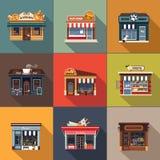 Πρόσοψη εστιατορίων και καταστημάτων, storefront λεπτομερές επίπεδο Στοκ Εικόνες