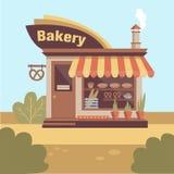 Πρόσοψη οικοδόμησης καταστημάτων αρτοποιείων με την πινακίδα, καπνός από την καπνοδόχο και προθήκη ελεύθερη απεικόνιση δικαιώματος