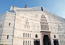 Πρόσοψη της βασιλικής Annunciation, Ναζαρέτ, Ισραήλ Στοκ Εικόνες