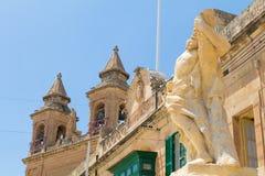 Πρόσοψη της εκκλησίας κοινοτήτων της κυρίας Πομπηίας μας Marsaxlokk στοκ φωτογραφία