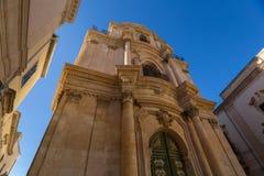 Πρόσοψη της εκκλησίας SAN Michele Arcangelo σε Scicli Στοκ φωτογραφία με δικαίωμα ελεύθερης χρήσης