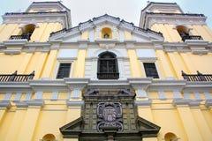 Πρόσοψη της εκκλησίας Αγίου Peter στη Λίμα, Περού Στοκ εικόνα με δικαίωμα ελεύθερης χρήσης