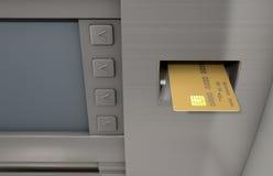 Πρόσοψη του ATM και ένθετο καρτών στοκ φωτογραφίες