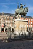 Πρόσοψη των κτηρίων στο δήμαρχο Plaza στη Μαδρίτη, Ισπανία Στοκ εικόνα με δικαίωμα ελεύθερης χρήσης