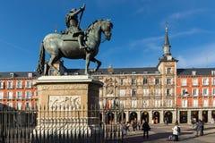 Πρόσοψη των κτηρίων στο δήμαρχο Plaza στη Μαδρίτη, Ισπανία Στοκ φωτογραφία με δικαίωμα ελεύθερης χρήσης