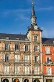Πρόσοψη των κτηρίων στο δήμαρχο Plaza στη Μαδρίτη, Ισπανία Στοκ φωτογραφίες με δικαίωμα ελεύθερης χρήσης