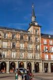 Πρόσοψη των κτηρίων στο δήμαρχο Plaza στη Μαδρίτη, Ισπανία Στοκ Φωτογραφίες