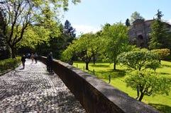 πρόσοψη 1318 χαρακτηριστικών antiochia χτισμένη η apse church Di entrance γοτθική έχει το μιναρές margherita liguriia της Ιταλίας Στοκ εικόνα με δικαίωμα ελεύθερης χρήσης