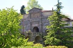 πρόσοψη 1318 χαρακτηριστικών antiochia χτισμένη η apse church Di entrance γοτθική έχει το μιναρές margherita liguriia της Ιταλίας Στοκ Φωτογραφίες