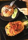 Πρόσφατα έτοιμα τηγανισμένα ανανάς θαλασσινά ρυζιού Στοκ Εικόνα