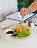 Πρόσφατα έτοιμο calamari και τεμαχισμένα πιπέρια με τα πράσινα σαλάτας στοκ εικόνες
