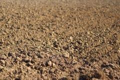 Πρόσφατα οργωμένο έδαφος Μια καφετιά σύσταση ανακούφισης Χαλαρό χώμα για τη φύτευση Γεωργία Γεωργική επιχείρηση Τεχνολογία του $c Στοκ Φωτογραφίες