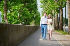 Πρόσφατα -πρόσφατα-wed ζεύγος που περπατά στο Παρίσι Στοκ Εικόνα