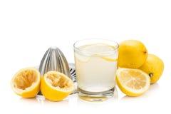 Πρόσφατα συμπιεσμένος οργανικός χυμός λεμονιών με το γυαλί και squeezer στοκ φωτογραφία
