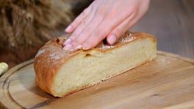 Πρόσφατα ψημένο ψωμί στον ξύλινο τέμνοντα πίνακα φιλμ μικρού μήκους