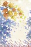 Πρόσφατο δάσος φθινοπώρου με χρωματισμένο το κρητιδογραφία φύλλο - γραφική σύσταση ζωγραφικής απεικόνιση αποθεμάτων