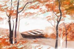 Πρόσφατο τοπίο φθινοπώρου στον ποταμό και τα σκάφη - γραφική σύσταση ζωγραφικής ελεύθερη απεικόνιση δικαιώματος