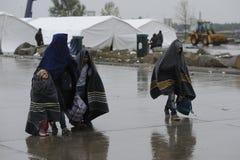 Πρόσφυγες σε Nickelsdorf, Αυστρία στοκ φωτογραφία